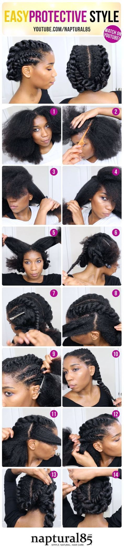 Easy protective natural hair style