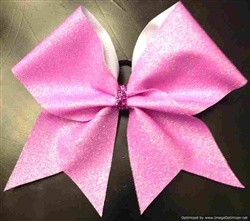 Go Full-Out! With Our Light Pink-on-White Full-Out Glitter Cheer Bow     $14