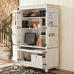 Chadwick Office Armoire - recreate this look in your old TV armoire unit! #hiddenstorage #office  http://www.nichedesignsinc.com/uncover-hidden-storage-event/