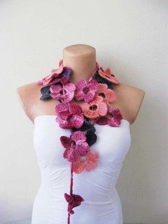 Hand Crochet Pink Purple Orange Flower Lariat Scarf by fairstore, $25.00...So girly I LOVE it!