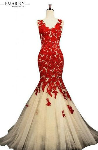 Real Sample Lace Evening Dresses 2017 Long Mermaid Red V-Neck Sexy Back Prom Party Gowns Appliques Robe De Soiree XXY293
