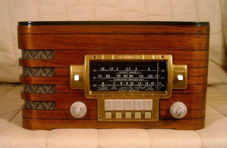 Old Antique Wood Zenith Vintage Tube Radio - Restored & Working w/ Black Dial #Zenith
