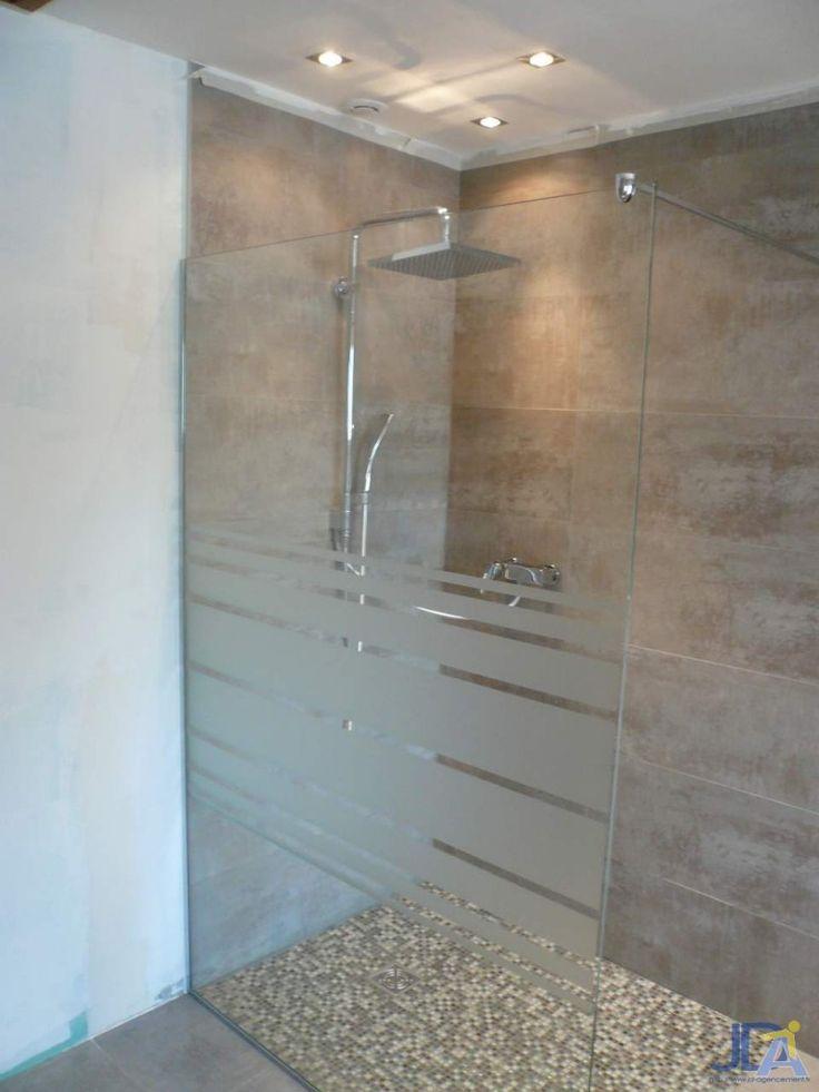panneau douche verre sablé