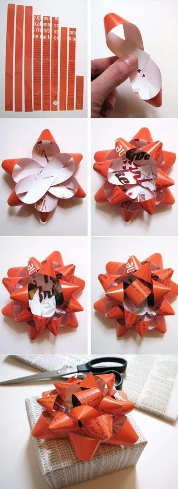Emballage cadeau en papier journal et nœud en feuilles de magazines. 19 idées originales d'emballages cadeaux à faire soi-même