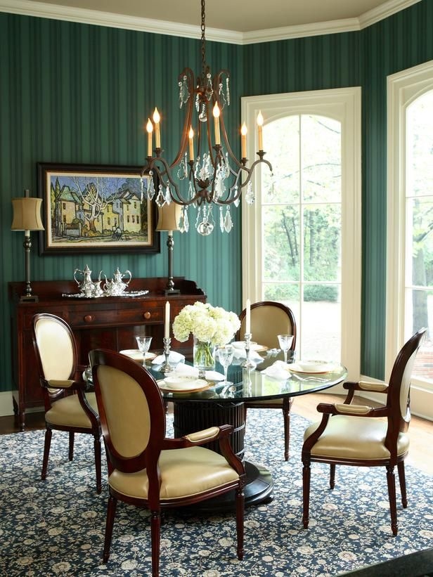 Emerald Green Dining Room With Striped Wallpaper