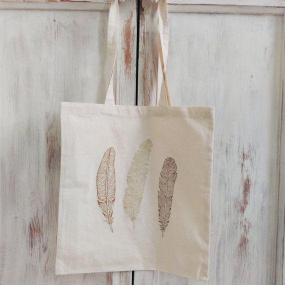 Argent plumes or sac fourre-tout en toile