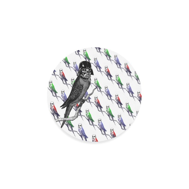Star Birds Round Coasters - Sci-fi mash-up featuring an intergalactic budgie garrison of stormpoopers with their dark lord Darth Feather! #artsadd #budgie #vader #birds #mashup #parody #stormtrooper #coasters #blackbird #garrison #helmet #warlord #army #popart #scifi #drinks