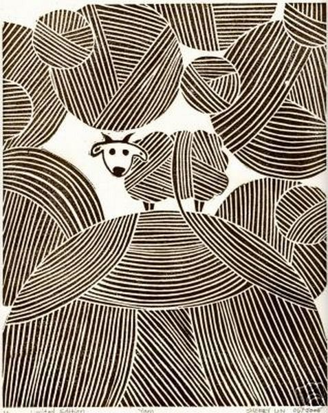 Original Linocut Linoleum Print Sheep and Yarn Brown - more black sheep ideas