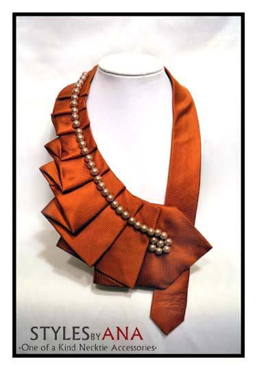 OrangeSpice Autumn Fabric Necktie Necklace Unique by stylesbyana