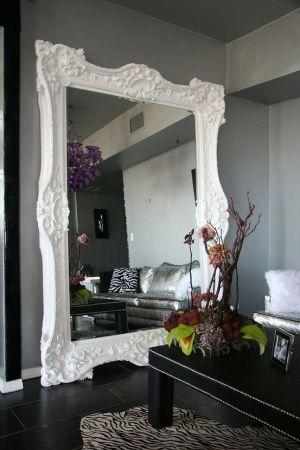 grey, white, floor mirrors, dark floors by francisca