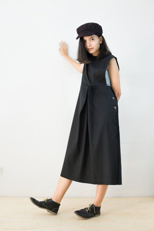 Mani Mina Black Pleat Overall