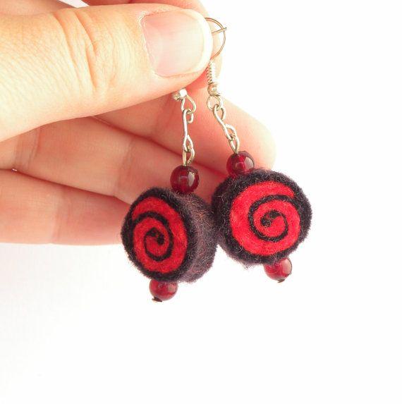 Earrings unique felted rolls no 113 felt earrings by MarudaFelting