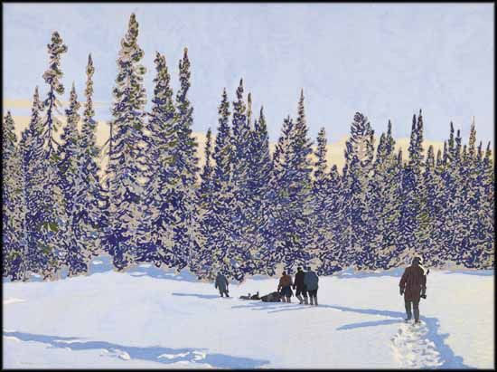 """""""Making a Trail to the Woods,"""" Frank Hans (Franz) Johnston, tempera on paper board, 30 x 40"""", private collection."""