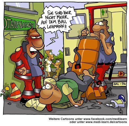#Cartoon der Woche: Quereinsteiger im #Rettungsdienst Trage oder Schubkarre? Zu lange auf dem Bau? ;)