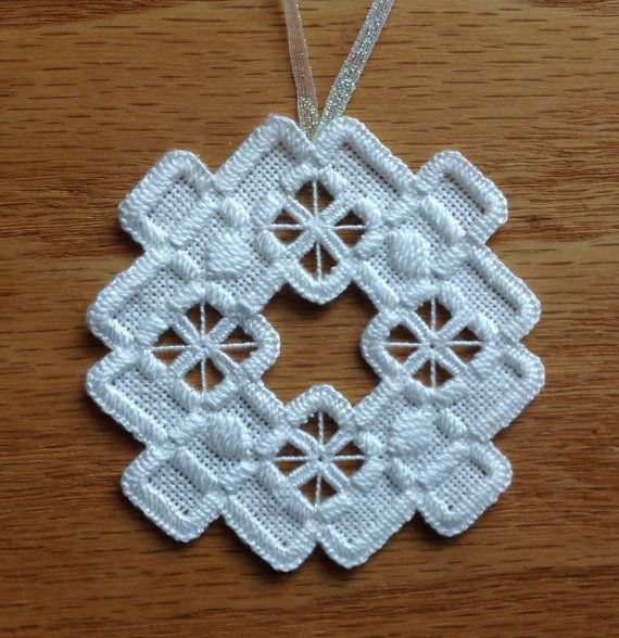 NEW for 2013 Season!!!    I hand stitched this sweet 3 Hardanger Ornament needlework piece on white linen with white perle cotton thread ~ Done in all