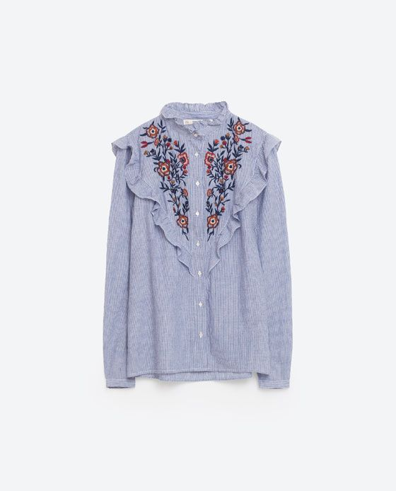 Image 8 of FRILLED AND EMBROIDERED STRIPED SHIRT from Zara