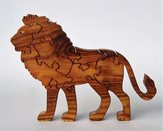 lion wooden puzzle canarywood geweldig lion en etsy. Black Bedroom Furniture Sets. Home Design Ideas