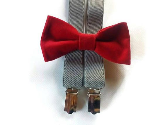 Nude colors wedding slate gray and peach linen double colored bow tie set matching suspenders ringbearer outfit ideas men groomsmen Groom