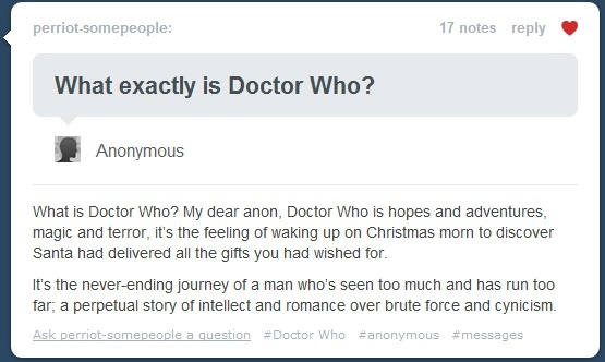 Perfect. Should also probably include: Warning! You will fall in love with the Doctor.