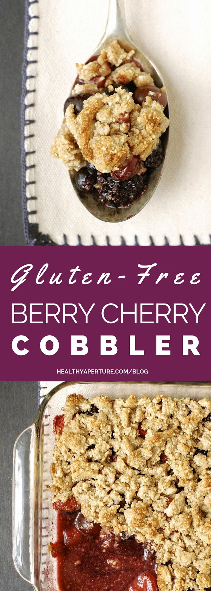 This Gluten-Free Berry Cherry Cobbler is a delicious dessert that takes just a few minutes to assemble and even fewer to eat!