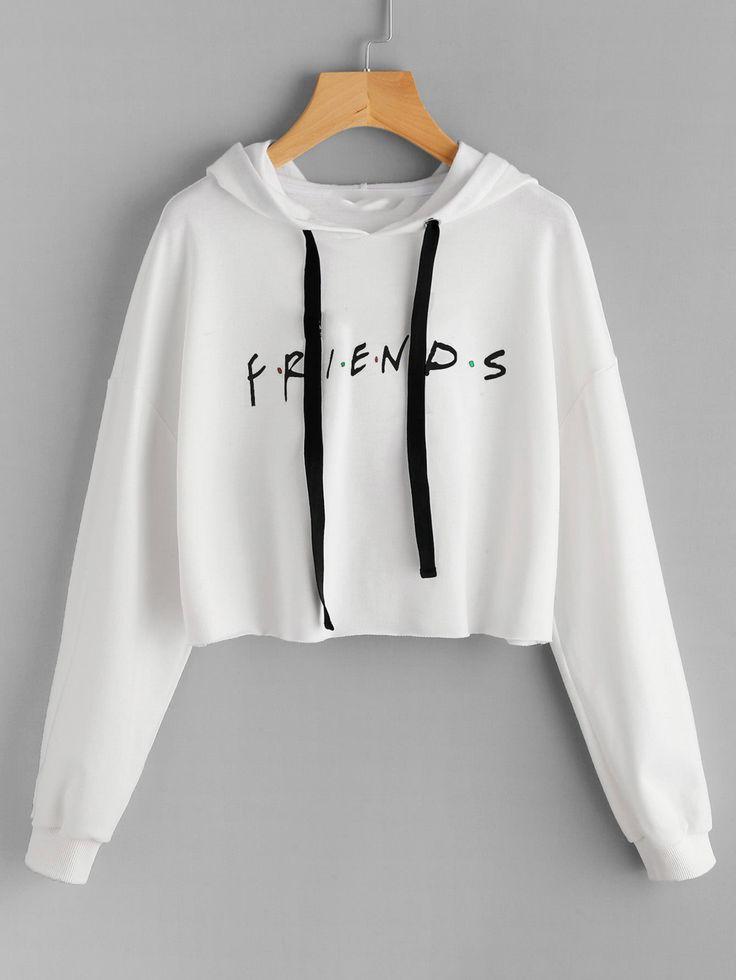 Friends Print Drop Shoulder Raw Hem Hoodie