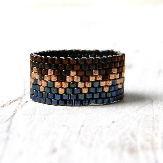 Elegant beaded ring. Ring made of Miyuki delica seed beads.  Band width - 11 mm Size - 8.5 (US)   More peyote rings (seed bead rings) from my shop you can see here: https://www.etsy.com/shop/HappyBeadwork?section_id=18818205