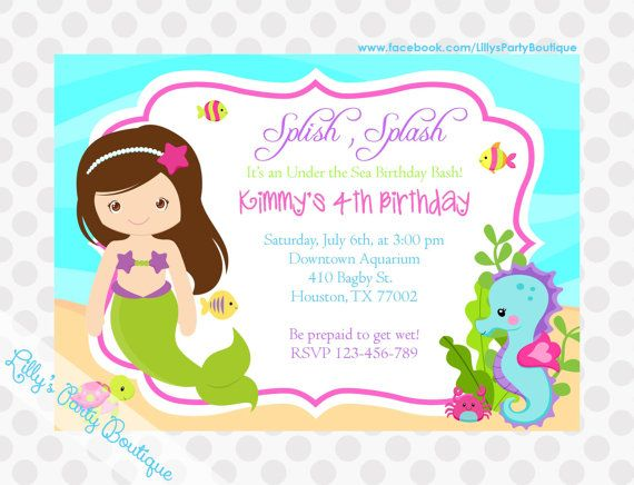 Mermaid Birthday Invitations by LillysPartyBoutique on Etsy, $15.00