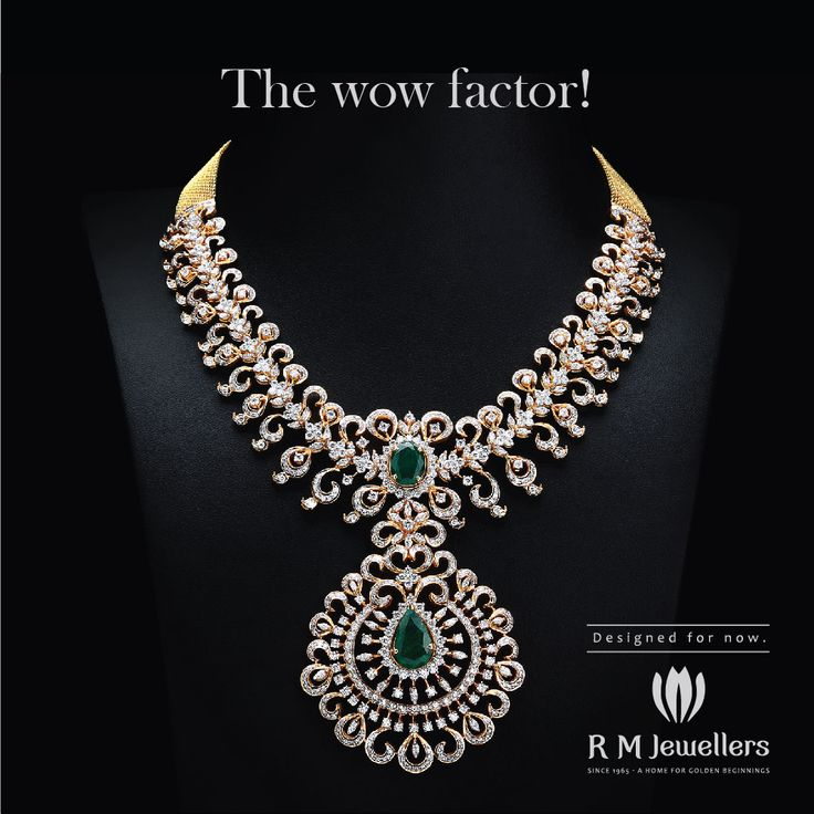 A sparkling diamond necklace with emeralds...