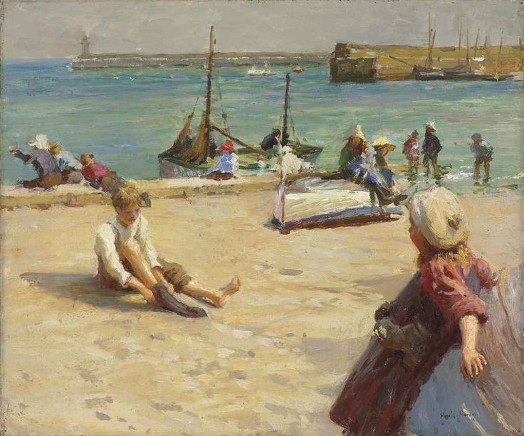 Children on the Quay, Newlyn by Harold Harvey (1874-1941) (Private
