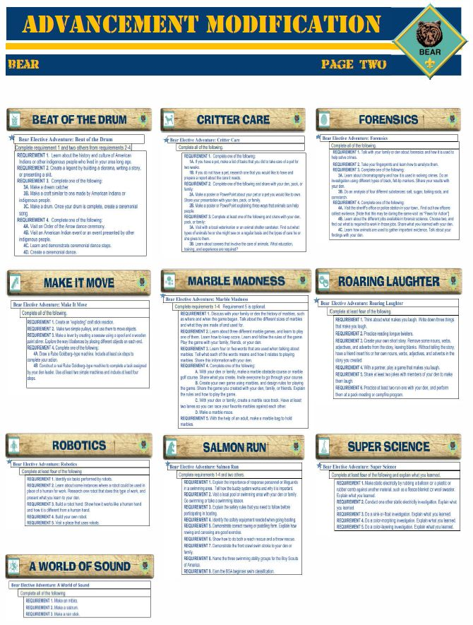 There are now new Cub Scout Advancement Requirements to make Rank advancement easier! Yippie! For more info go to: I have made this one page double sided worksheet for a quick reference. Click on P…