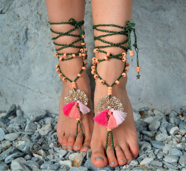 Sandals – Barefoot sandals, boho chic, beach anklets – a unique product by santorinibarefoot on DaWanda