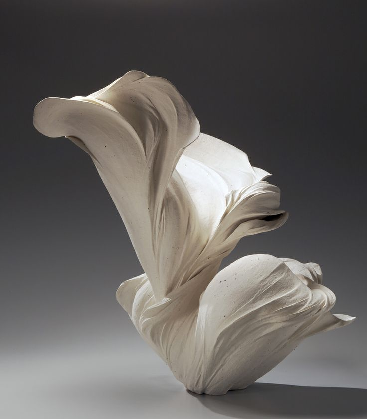"Fujikasa Satoko (b.1980) ""Flow,"" 2011 Billowing stoneware sculpture with white slip Photo: Richard Goodbody"