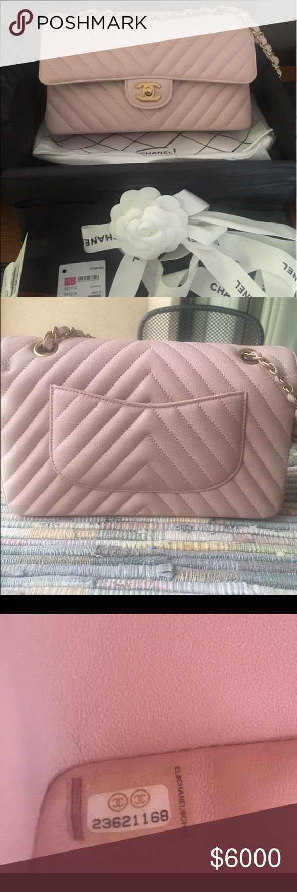 2017 NWT Chanel Pink Medium Calfskin Chevron flap 2017 Chanel Medium Chevron Pink Calfskin Flap w/ brushed gold hardware...bought June 3,2017  The bag is brand new only worn once for a couple hours. There is absolutely no wear on the bag whatsoever. I have a bag similar in color and I feel I can't justify keeping both. It is Full Set including original receipt.   🌸MORE PHOTOS UPON REQUEST🌸  Comes with box, bag, dustbag, care kit, tag, card, ribbons, Camilla, and receipt.  Please feel free…