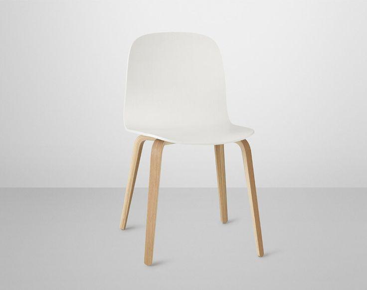 Židle Muuto Visu s dřevěnou podnoží, dub/bílá | DesignVille