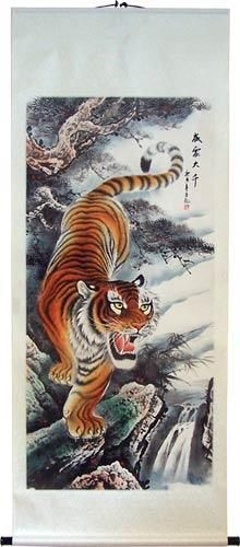 This wall scroll painting features a tall ferocious tiger ...