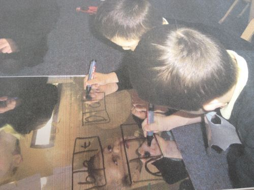 When you are thinking about new ways to get your boys mark making, you might want to try this one. White board markers on mirrors (or mirrored plastic sheeting). There are multiple skills involved in this activity but most of all it gets you some high level engagement and that means high level attainment!