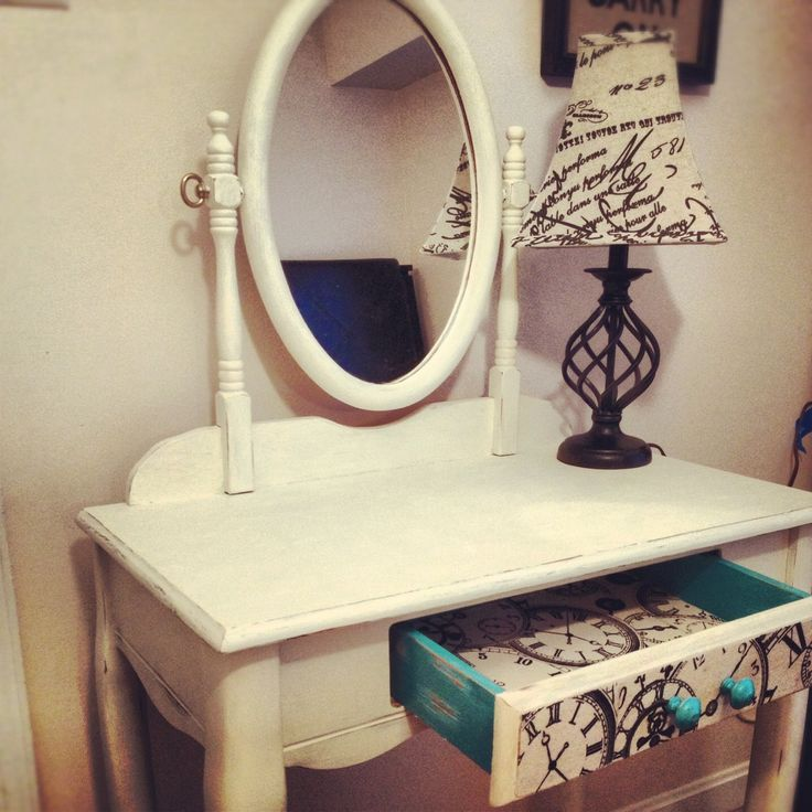 Shabby Chic White Vanity with Decoupage drawer front and Turquoise accent.