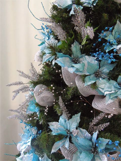 Turquoise and Silver Christmas Tree
