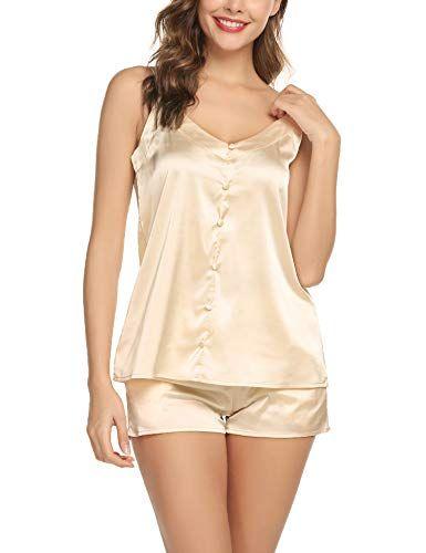 d7d4c224548e Womens Short Satin Pajamas Set Sexy Camisole Sets Silk Lingerie Sleepwear