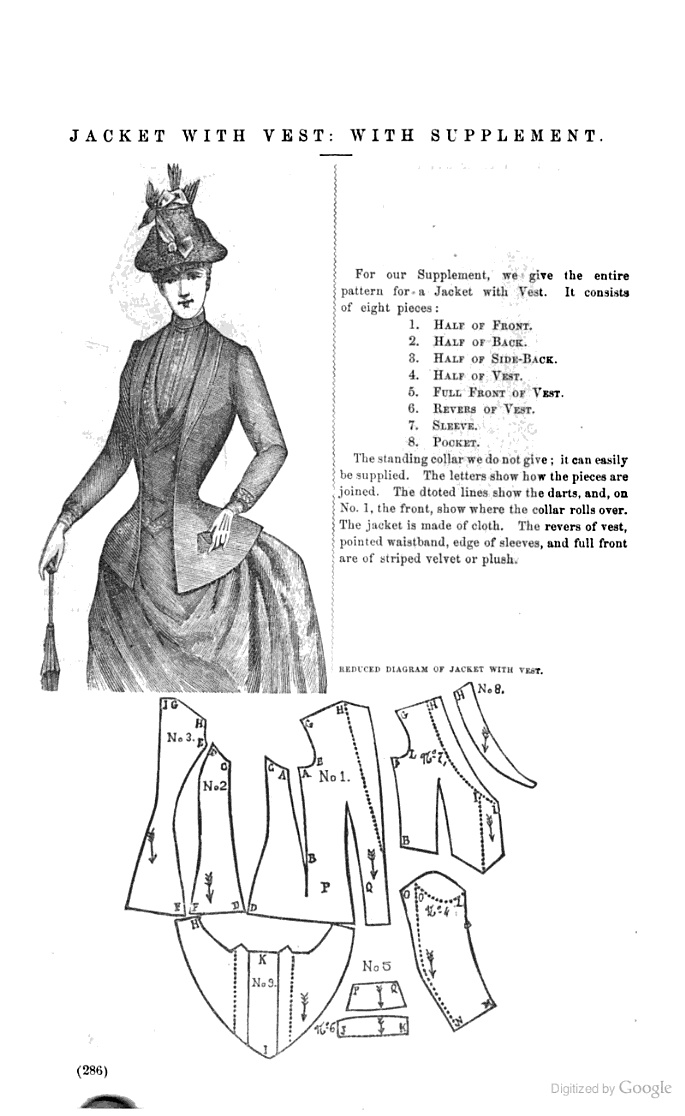 Jacket with Vest Peterson's magazine - March 1889 Page 286