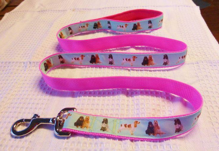 Cocker spaniel custom print ribbon lead on pink webbing $25
