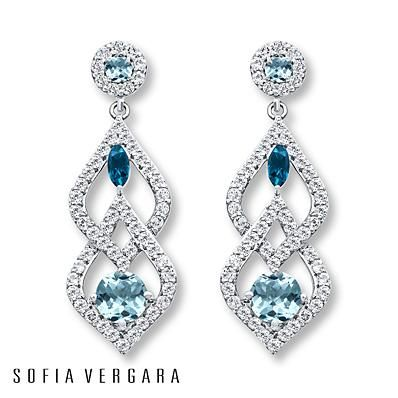 These blue and white topaz dangle earrings are to die for!