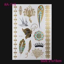Novo Design do Flash Do Tatuagem Removível À Prova D' Água Ouro Metálico Tatuagem Tatuagem Temporária Adesivos Temporária Body Art Tatoo(China (Mainland))