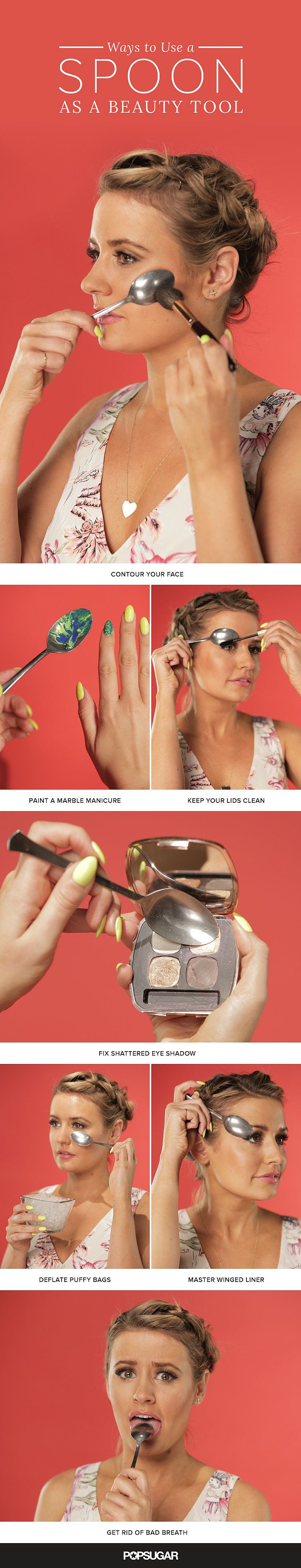 Underrated things in life: clean sheets, handwritten notes, taking your bra off after a long day, and spoons. Yes, your rounded silverware isn't just for eating. They have a variety of uses – especially when it comes to getting ready! First off, they're great for creating DIY nail art. They can help depuff bloating under eyes. Want to avoid mascara on your lids? They're great for preventing that, too! Check out the rest of our tips using our favorite cutlery, then let us know your favorite uses!: