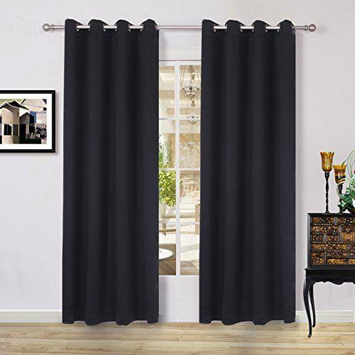 Lullabi Solid Thermal Blackout Window Curtain Drapery, Grommet, 84-inch Length by 54-inch Width, Black, (Set of 2 Panels) Lullabi