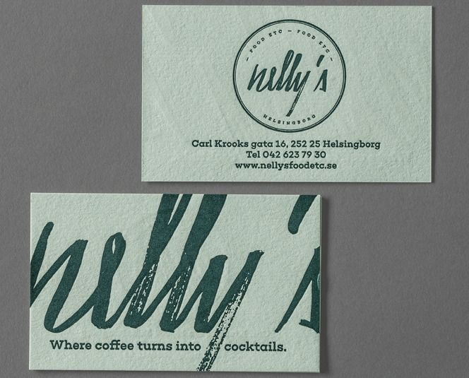 Atmosfär: Business cards for Nelly's Food Etc.