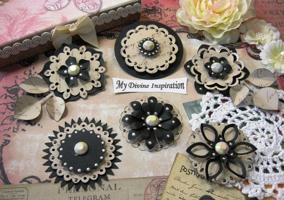Black and Light Beige Paper Embellishments by mydivineinspiration