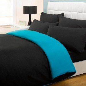 6PC COMPLETE REVERSIBLE BLACK / TEAL DOUBLE DUVET COVER & FITTED SHEET BED SET by Viceroybedding: Amazon.co.uk: Kitchen & Home