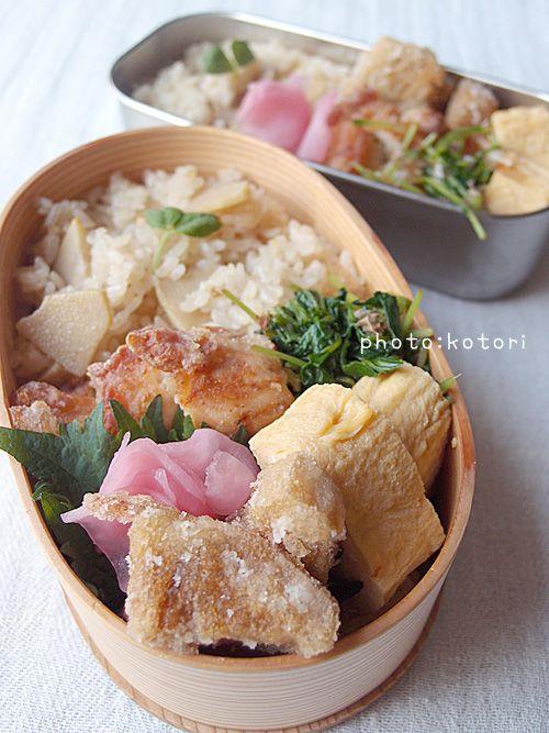 ・たけのこご飯 ・たけのこの唐揚げ ・鶏むね肉のタニタ風揚げ ・豆苗のおひたし ・だし巻卵