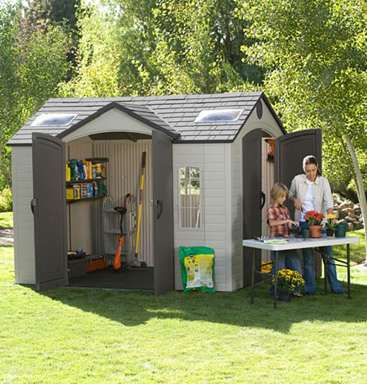 Lifetime brighton 8 39 x 10 39 side entry shed a garden for Garden shed large